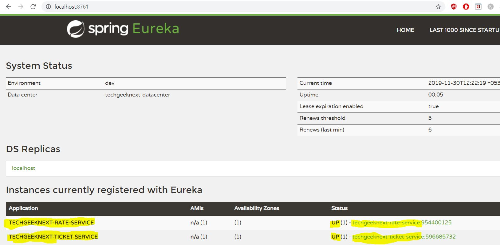 Testing Services in Eureka Server